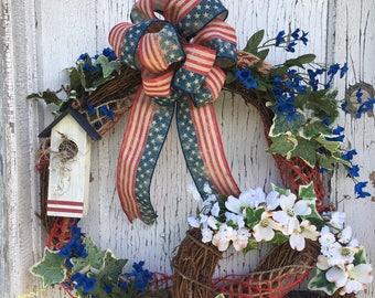 Americana Red, White & Blue Double Grapevine Wreath