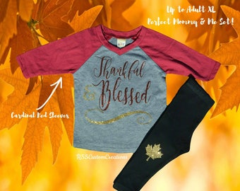 Baby Girl Thanksgiving Outfit, Girl Thanksgiving Outfit, Thankful Shirt, Baby Girl 1st Thanksgiving Outfit, Thankful and Blessed Shirt