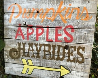 Fall sign - Pumpkins Apples Hayrides - Rustic Whitewashed Handmade - Autumn Love - Fall Decor - Fall Activities Sign - Fall Favorites