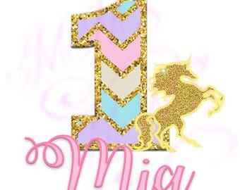 Shipped Rainbow First Birthday Unicorn Birthday Mom Birthday Girl Shirt DIY Iron On Digital Art Matching Pink Gold First Birthday