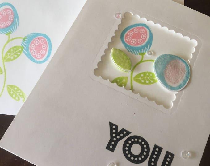 Handmade Cards, Stamped Card, Friendship Card, Encouragement Card, customizable card, Floral Card, Funky Card, Fun Card, Layered Card