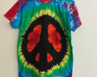 Rainbow Peace Sign Tie Dye Shirt