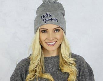 Delta Gamma Beanie in Gray