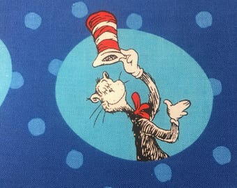 """The Cat in the Hat in circles - Robert Kauffman fabric, By the Half Yard, 43-44"""" wide, 100% cotton, cat in the hat fabric, dr seuss fabric"""