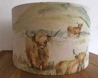 Voyage Decoration highland cattle handmade large drum lampshade countryside linen cows