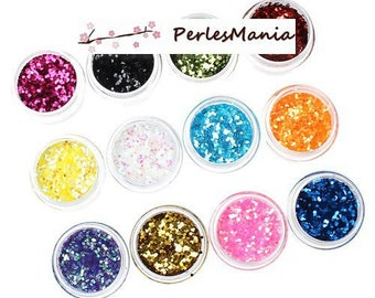 12 BOXES WITH GLITTER NAIL ART MULTICOLORED S1173386, DIY