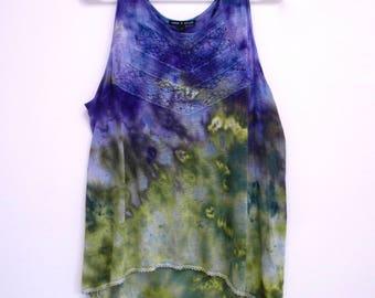 Linen asymmetrical tie-dye tank flowy summer boho festival artistic gorgeous ice-dyed blue green natural flowing tank top