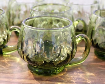 11 Vintage Olive Green Punch Glasses