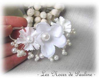 Train clip / brooch white snow and iridescent flower Eglantine v2