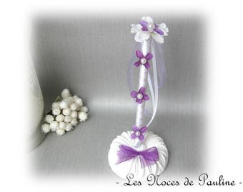 Set purple and white flowers Wedding guest book pen