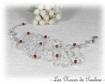 """""""Les Textiles"""" Lucille lace bracelet ivory Burgundy wedding"""