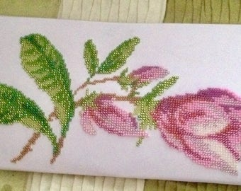 Beads Embroidered Stylish White Clutch Bag Magnolia