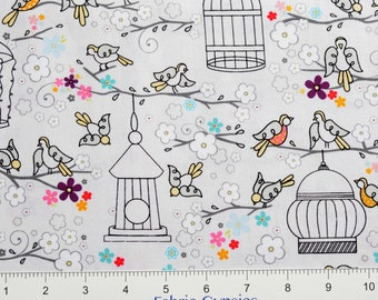 "AdornIt ""Rhapsody Collection"" ~ Birdies Perched ~ 00519 ~ BIRDS ~  By The Half Yard ~"