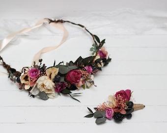 Pink peach ivory flower crown Fall wedding Bridal headbahd Hair flower wreath Boutonniere Floral headpiece Woodland Outdoor Bridesmaid