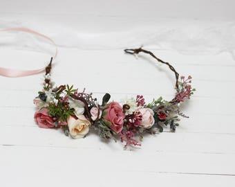 Dusty rose peach flower crown Bridal hair wreath Bridesmaid floral headpiece Romantic wedding Maternity crown Flower girl crown Outdoor