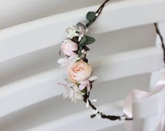 Romantic flower crown Wedding headpiece Blush pink floral headband Eucalyptus Bridal hair wreath Floral halo Maternity crown Bridesmaid Boho