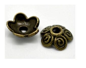 set of 10 cups bronze 10 mm x 4 mm metal bead caps