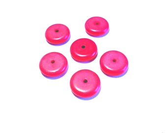 Set of 6 pink natural stone beads, flat, 12 mm x 2 mm