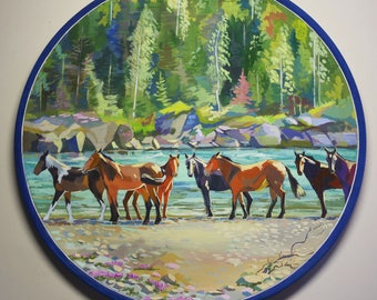 Horses on Katun river, original painting on wood plate