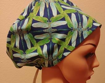 Women's Surgical Cap, Scrub Hat, Chemo Cap, Dragonflies
