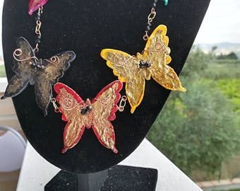 Handmade wooden and painted butterflies necklace with crystals added