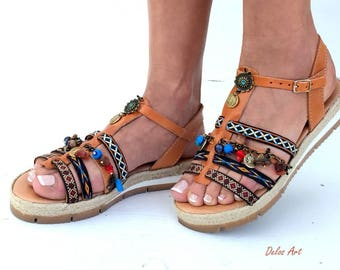 "leather sandals, Boho Sandals, ""DIONE"" summer shoes, Handmade Sandals, Greek Sandals, brown sandals,  hippie sandals, Bohemian sandals"