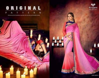 Neon pink faux Georgette saree