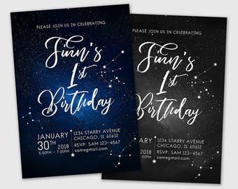 Star Invitation, Constellation Invitation, Under the Stars Invitation, Galaxy Party Invitation, Space Party Invitation. Little Star Invite