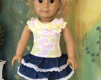 American Girl Denim Ruffle Skirt and Top with Pink Bows