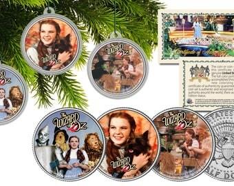 WIZARD OF OZ - Dorothy - Tin Man - Scarecrow - Cowardly Lion Kennedy Half Dollar Coins Christmas Tree Ornaments (Set of 3)