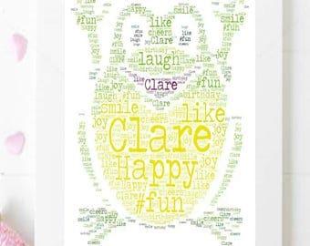 Personalised Frog ~ Word Art ~ Print~ A4~ Keepsake~