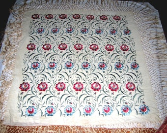 Fabulous Vintage Embroidered Silk Piano Shawl - Nearly 60x60 Plus Fringe  - ca 1900-20's