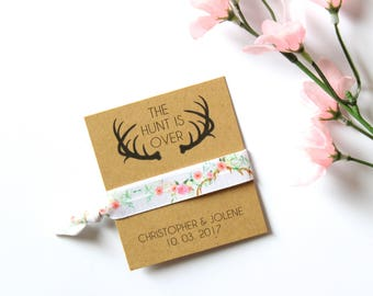The Hunt is Over Bridal Shower Personalized Hair Tie Favor | Bridal Shower | Bridal Shower Gift | Bridal Shower Favor | Bachelorette Favor