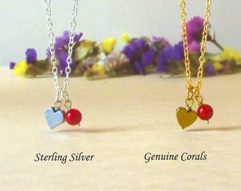 Dainty Red Coral Necklace with Tiny Hematite Heart, Real Coral Heart Necklace, Sterling Silver Gold Coral Pendant, Heart Charm Necklace