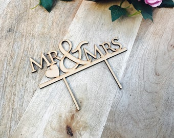 CLEARANCE! 1 ONLY Timber Mr & Mrs Wedding Cake Topper Wedding Cake Engagement Cake Topper Cake Decoration Cake Decorating Mr And Mrs Cake To