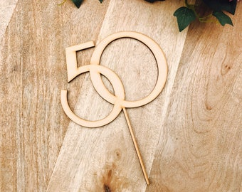 CLEARANCE! 1 ONLY Timber Fifty Cake Topper 50th Birthday Cake Topper Cake Decoration Cake Decorating Birthday Cakes Fifty Sugar Boo Cake Top