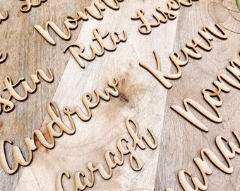 40 x Custom timber place cards, Personalised wooden name places for Wedding, Laser cut timber guest names bonbonniere Plain timber name SPMG