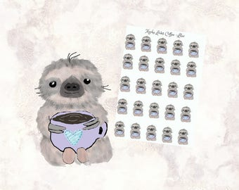 Winter Coffee - kawaii sloth - Mocha Loves Coffee Stickers - Cute Sloth - Sloth Stickers - but first coffee  - coffee love stickers - MSM054