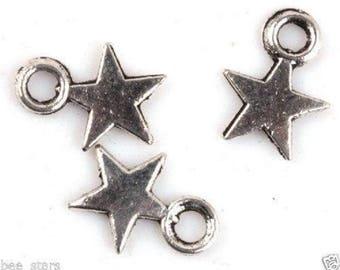 set of 10 Silver Star charm 11x9mm