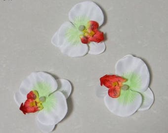 2 orchid flower applique artificial white green color