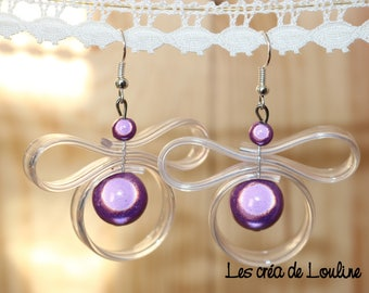 Purple transparent silicone and Pearl Earrings