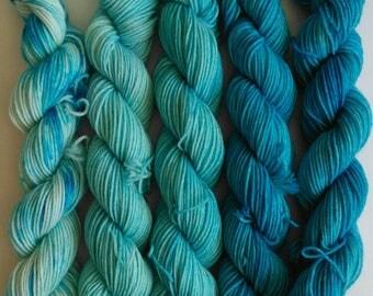 Swimming Pool mini skein set - 100g  (5 x 20g) merino/nylon hand dyed yarn