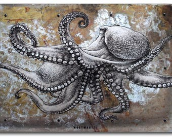 "Octopus, pen&ink drawing transferred onto tarnished metal, 20x14"", hand-signed, gallery hanging system"