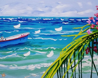 Tropical boat painting, original oil painting seascape with palette knives, by Ryan Kimba