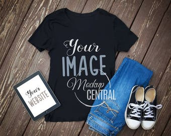 Blank Black T-Shirt Top Apparel Mockup, Fashion Design Styled Stock Photography, Flat Mock Up Shirt, Top View on Wood Background - JPG
