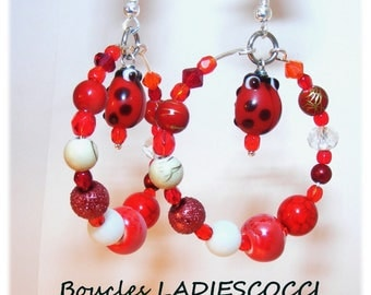 Earrings of a kind Designer [LadiesCocci] - Red - ivory - white
