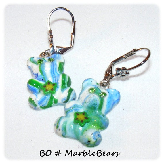 Earrings of a kind Designer [MarbleBears] - blue and green