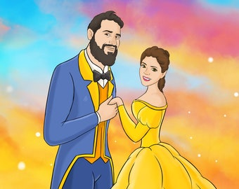 Custom portrait in Fairytale style,  Disney inspired cartoon portrait, Couple Portrait, Cartoon portrait, Family portrait, Cartoon portrait