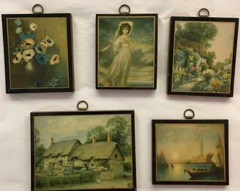 Decoupage Miniature Art Prints - Set of 5 Art Prints - Pastoral Art Mini Plagues of Flowers, Landscapes and People - Wall Collage Mini Art