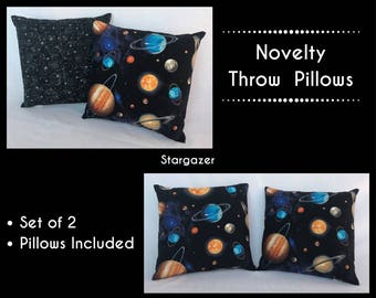 Throw Pillow Boy ~ Planet Print Throw Pillow ~ Kids Accent Pillow ~ Nursery Decor ~ Decorative Pillow ~ 14 x 14 Pillows ~ Boys Room Ideas